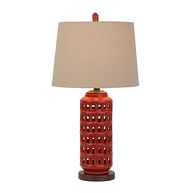 Pierced Red Ceramic Table Lamp