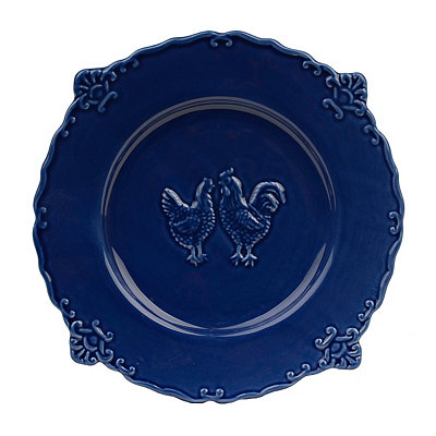 Dark Blue Rooster Dinner Plate