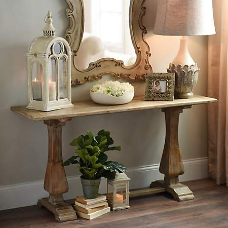 Attractive Distressed Natural Pedestal Console Table