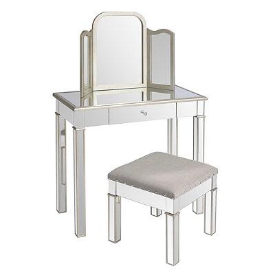 Silver Mirrored Vanity Set