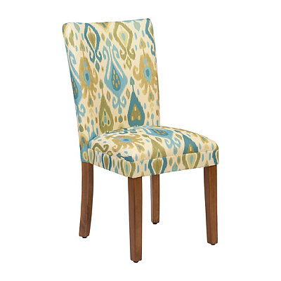 Blue and Green Ikat Parsons Chair