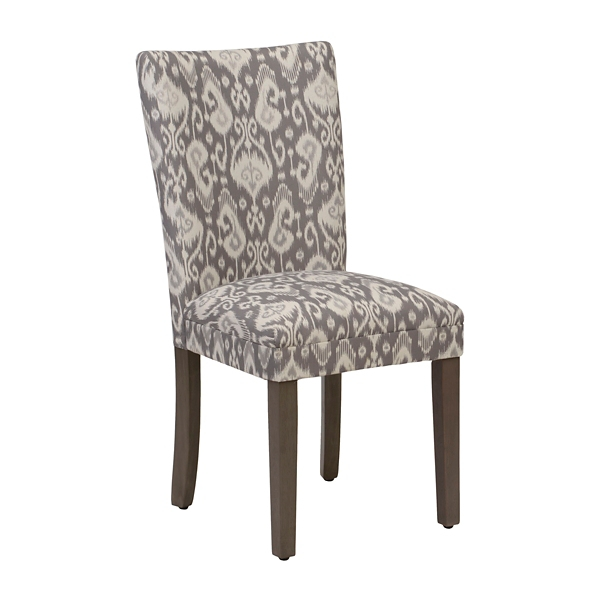 Gray And White Ikat Parsons Chair