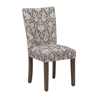 Gray and White Scroll Parsons Chair