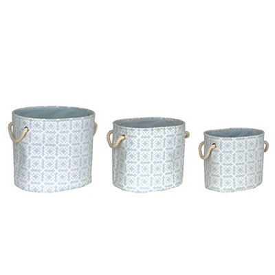 Aimee Blue Floral Bins, Set of 3