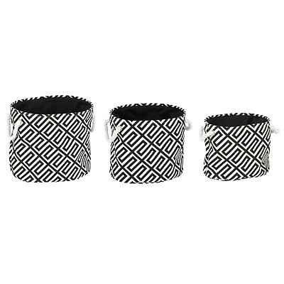 Black Greek Key Bins, Set of 3