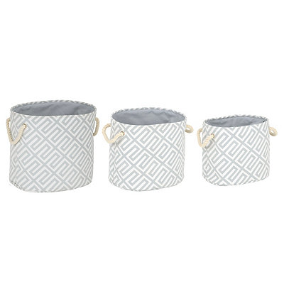 Gray Greek Key Bins, Set of 3