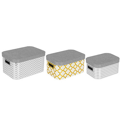 Metallic Geometric Boxes, Set of 3