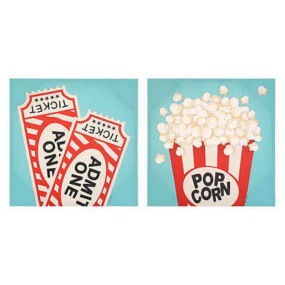 Retro Theater Canvas Art Prints, Set of 2