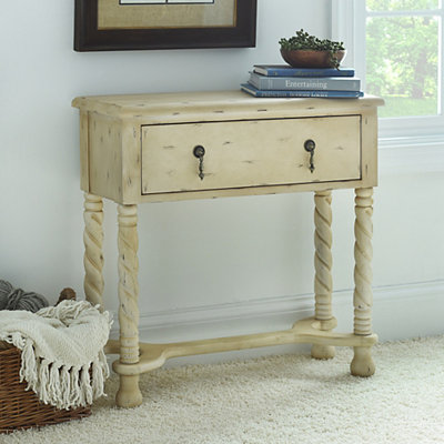 Cream Twisted Wood Console Table