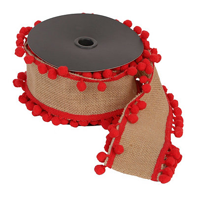 Red Pom Pom Jute Ribbon