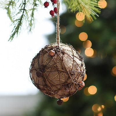 Burlap Twig Bell Ornament