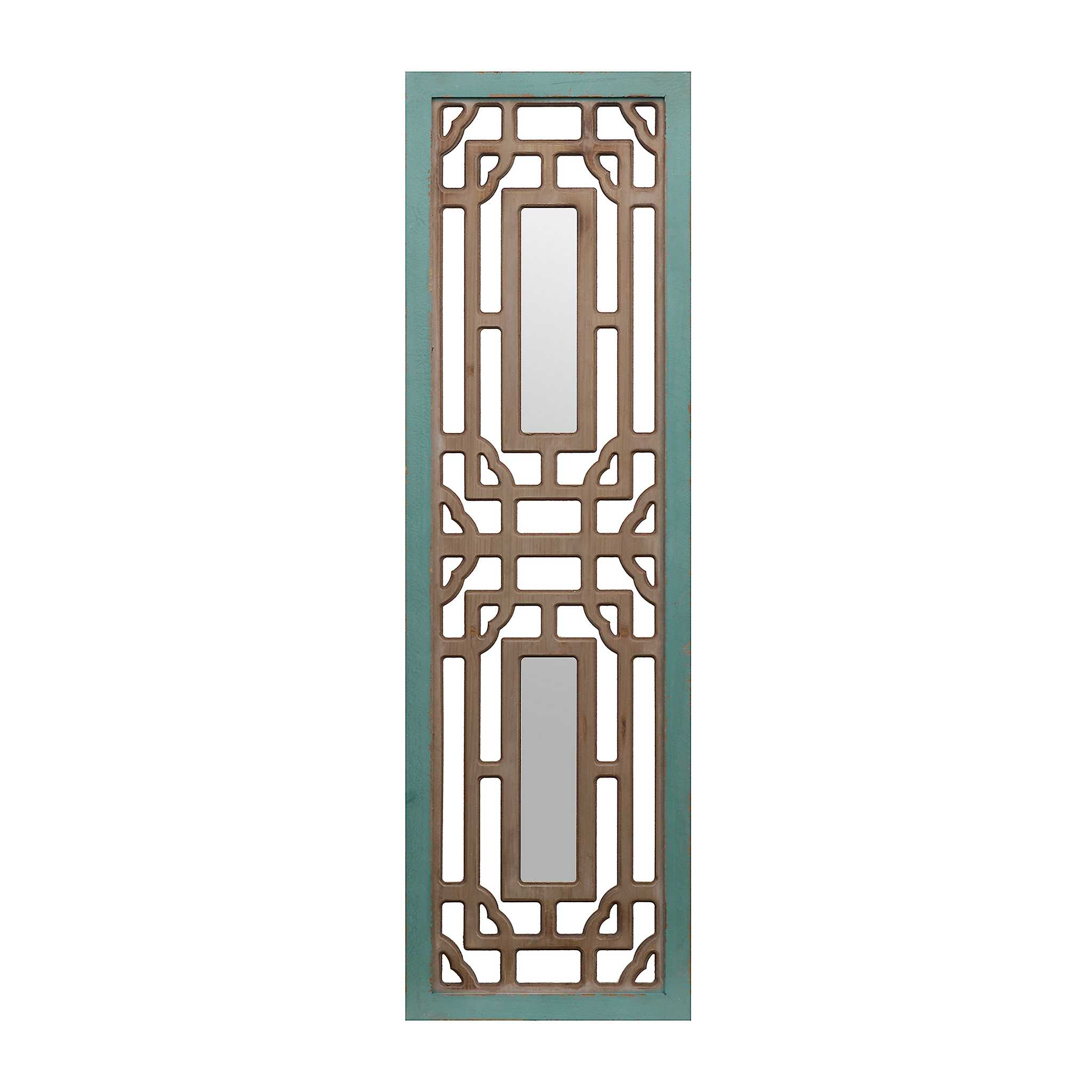 Kirklands Silver Wall Decor : Turquoise and natural mirrored wooden panel kirklands