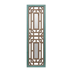 Turquoise and Natural Mirrored Wooden Panel