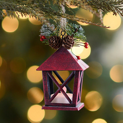 Distressed Red Tin Lantern LED Ornament