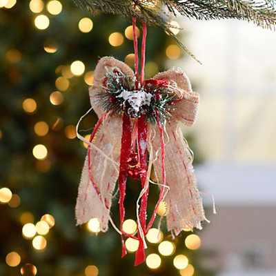 Rustic Flocked Burlap Bow Ornament