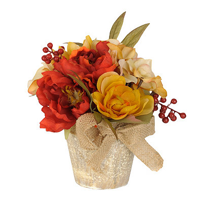 Orange and Yellow Peony and Rose Mix Arrangement