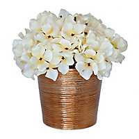 White Hydrangea Arrangement with Bronze Pot