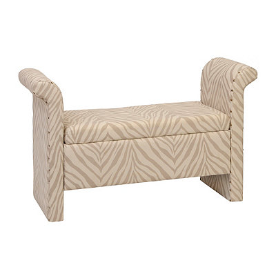 Gray Safari Zebra Storage Bench