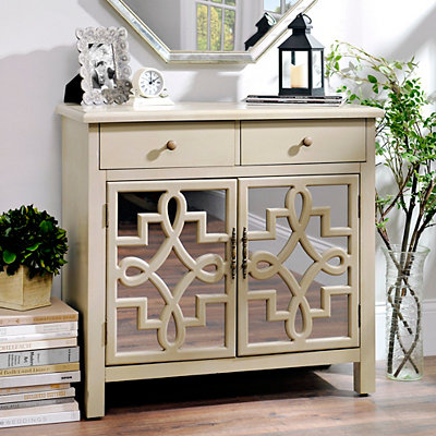 Tan Mirrored 2-Drawer Chest