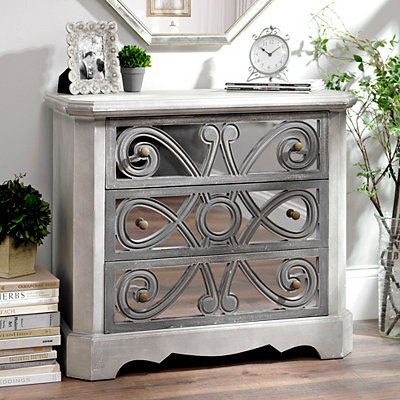 Chalk Gray Scroll Mirrored 3-Drawer Chest