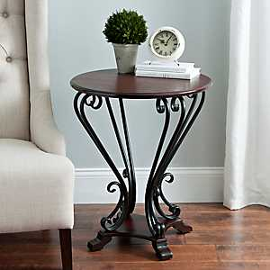 Dark Brown Scrolled Side Table