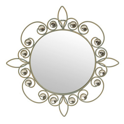 Blue-Gold Metallic Jeweled Wall Mirror