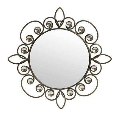 Bronze Metallic Jeweled Wall Mirror