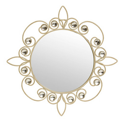 Cream Metallic Jeweled Wall Mirror