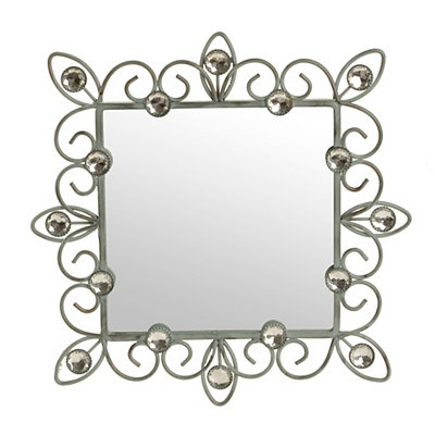 Distressed Blue Jeweled Framed Mirror