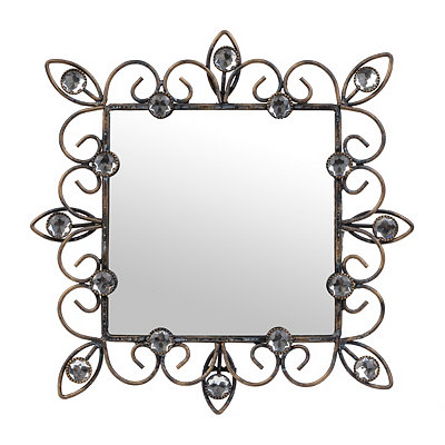 Distressed Black Jeweled Framed Mirror