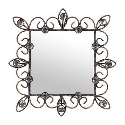 Distressed Black Jeweled Framed Mirror