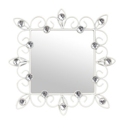 Distressed Cream Jeweled Framed Mirror