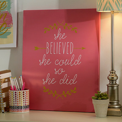 Glitter She Believed She Could Canvas Art Print