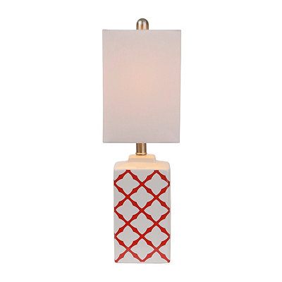 Red Geometric Ceramic Table Lamp
