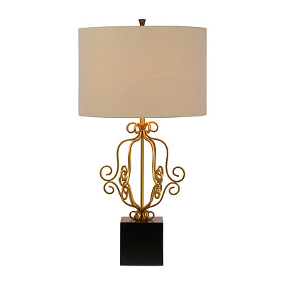 Antique Gold Scroll Metal Table Lamp