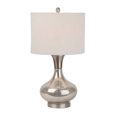 Round Brushed Steel Mercury Glass Table Lamp