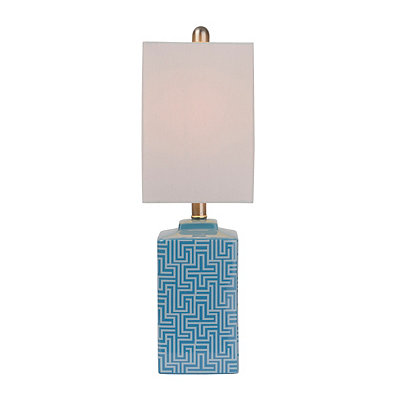 Turquoise Geometric Ceramic Table Lamp