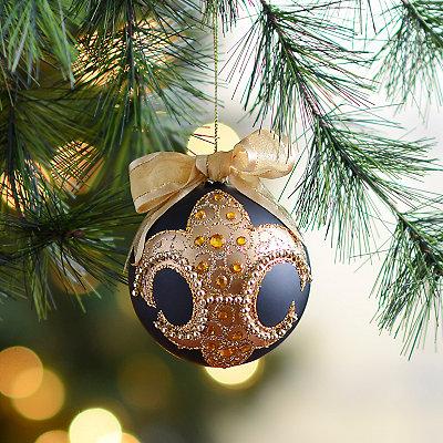 Gold Jewel Fleur-de-Lis Ball Ornament