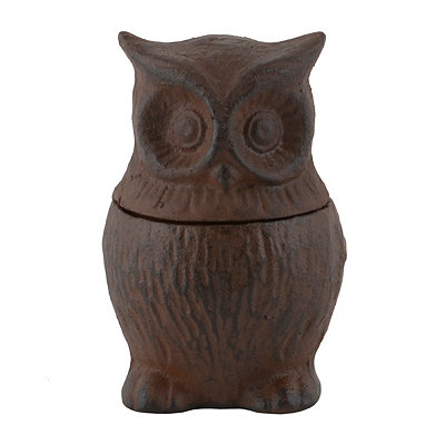 Cast Iron Owl Jar