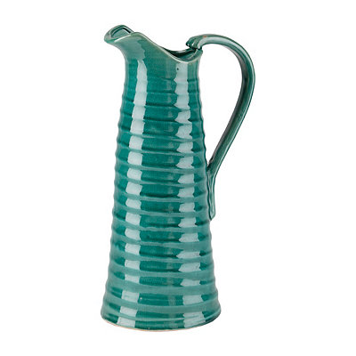 Teal Ribbed Ceramic Pitcher Vase