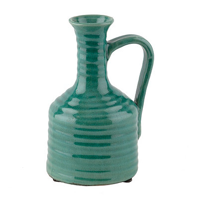 Teal Ceramic Ribbed Vase