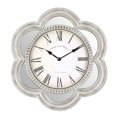 Ivory Florentine Mirrored Clock