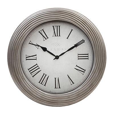 Antique Silver Ripple Clock