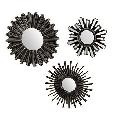 Pewter Sunburst Mirrors, Set of 3