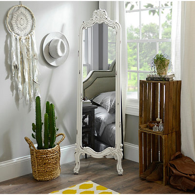 Distressed White Morgan Cheval Mirror