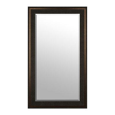 Dark Wood Grain & Bronze Framed Mirror, 31.5x55.5