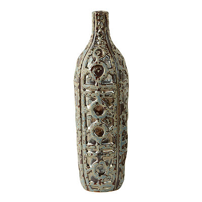 Distressed Aqua Double Link Moroccan Vase