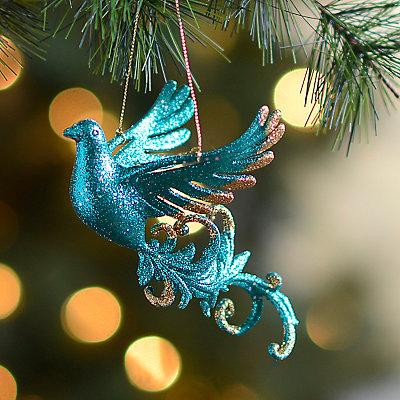 Peacock Blue Glitter Bird Ornament