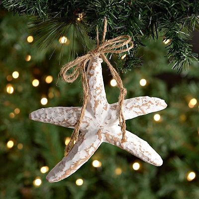 Distressed White Starfish Ornament