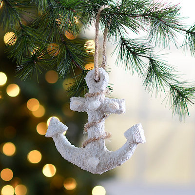 Frosted Anchor Ornament
